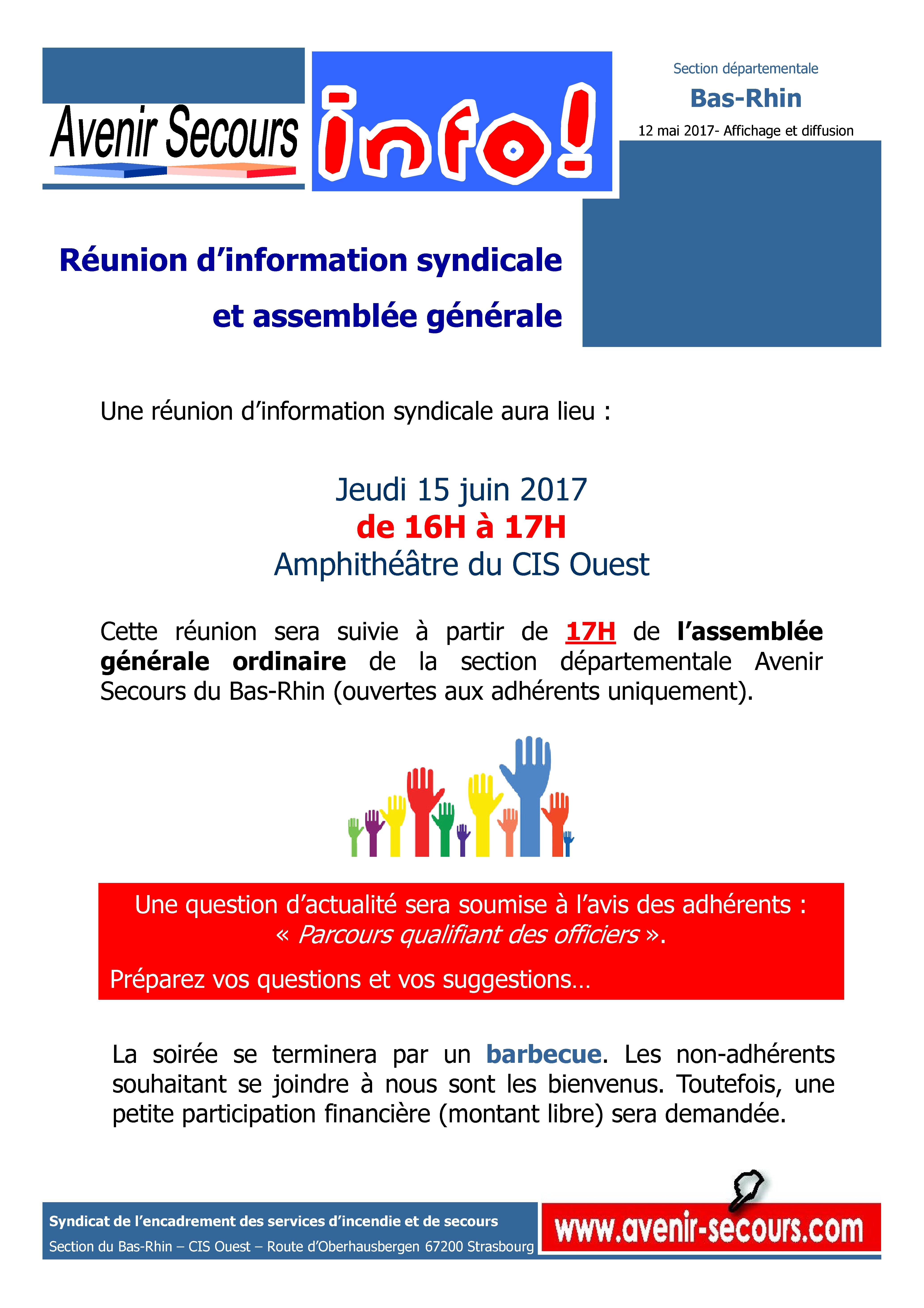 R union syndicale et ag avenir secours - Bureau de service national du lieu de recensement ...